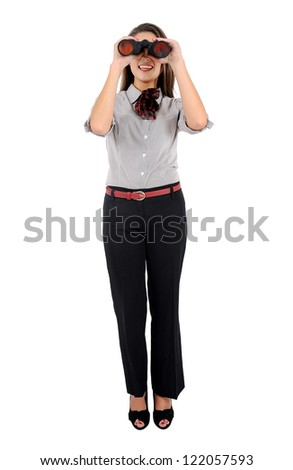 Isolated young business woman with binocular - stock photo