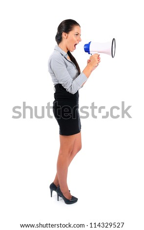 Isolated young business woman with loudspeaker - stock photo