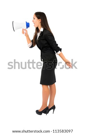 Isolated young business woman with megaphone - stock photo
