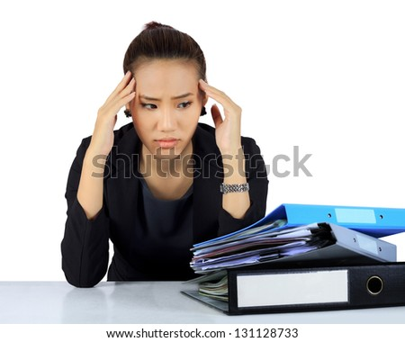 Isolated young business woman with unhappy expression on white. - stock photo