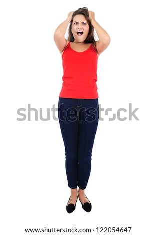 Isolated young casual girl frustrated - stock photo