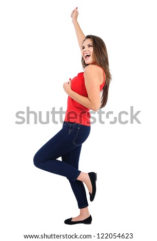 Isolated young casual girl winning - stock photo
