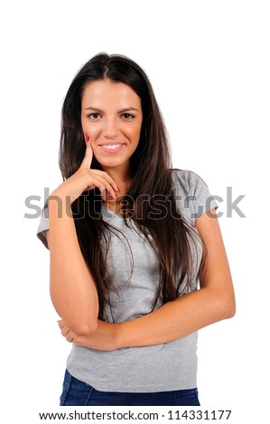Isolated young casual woman curious - stock photo