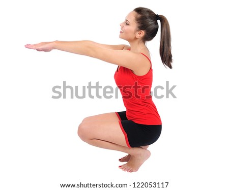 Isolated young fitness woman training - stock photo