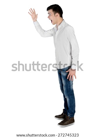 Isolated young man arguing side - stock photo