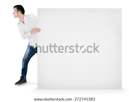 Isolated young man drag empty board - stock photo