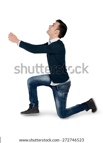 Isolated young man giving something - stock photo