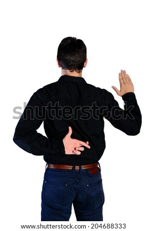 Isolated young man promise fraud - stock photo