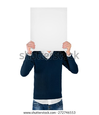 Isolated young man with empty board - stock photo