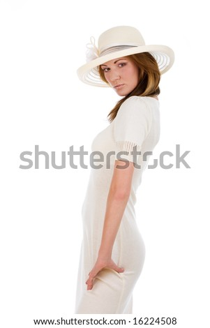 Isolated young pretty woman in a white hat - stock photo