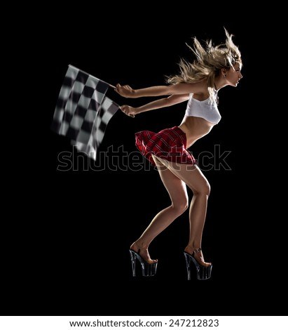Isolated young sexy girl starts the night drag race - stock photo