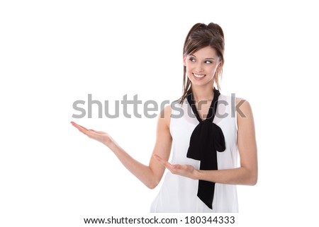 Isolated young woman presenting with her hands. - stock photo