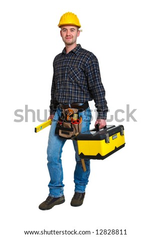 Isolated young worker with tools 11 - stock photo