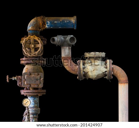 Isolates of the pipe off the water supply, both old rust corrosion  - stock photo