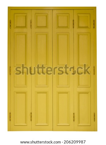 Isolates yellow antique wooden doors on all four channels off nicely. - stock photo
