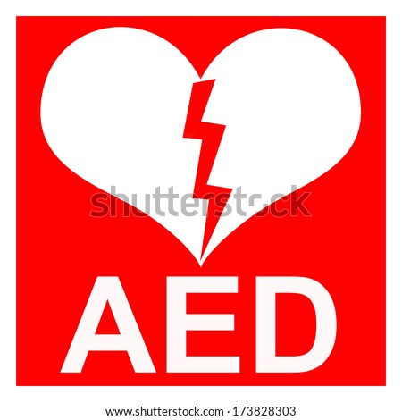 Isolation of a red AED symbol to indicate that there is a defibrillator located in the building or indicating the exact location - stock photo