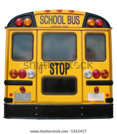 Isolation of Back of School Bus - stock photo