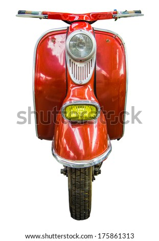 Isolation Of Red Vintage Retro Moped Or Scooter - stock photo