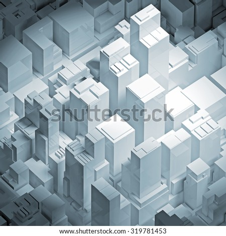 Isometric abstract white cityscape with tall office buildings, square 3d illustration - stock photo