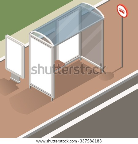 isometric bus stop with street banner mockup for advertising and posters. Isometric view of the street with a stop and street banners. Flat design illustration - stock photo
