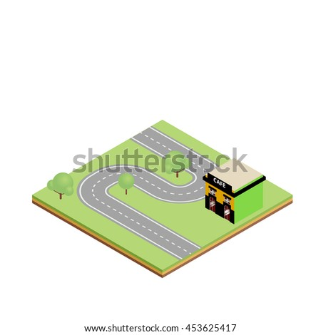 Isometric country road with cafe illustration. Game tile - stock photo