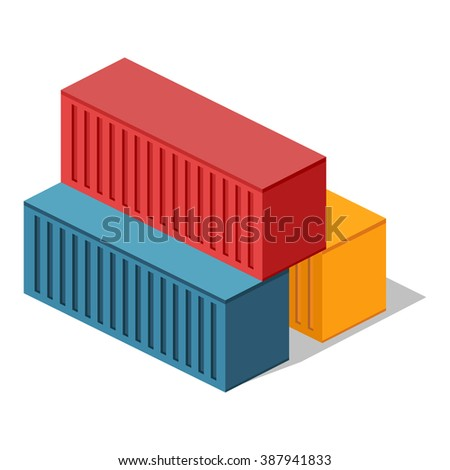 Isometric 3d container delivery. Cargo container, cargo and container, freight industry, export container, industrial comtainer, storage goods, delivery container, import heavy container illustration - stock photo