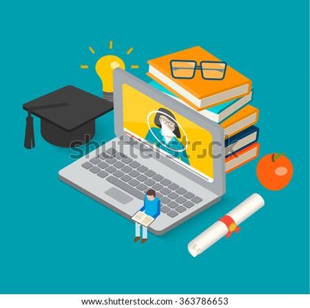 Isometric 3d online education concept with books, laptop, graduation hat - stock photo