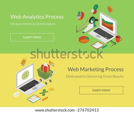 Isometric double illustration of analytics and marketing processes. Free font Lato - stock photo