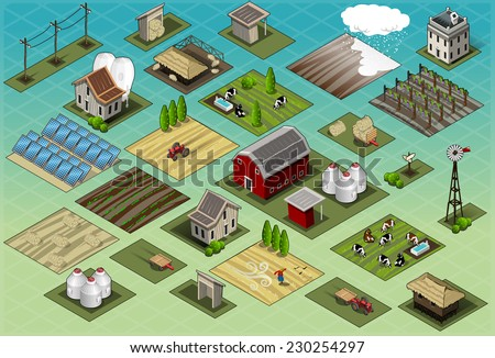 Isometric Farm Ville Set Tiles. Farm Icon. Farm JPG. Farm JPEG. Farm Picture. Farm Image. Farm Graphic. Farm Art. Farm Illustration. Farm Drawing. Farm Object. - stock photo