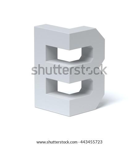 Isometric font letter B 3d rendering - stock photo