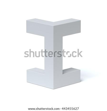 Isometric font letter I 3d rendering - stock photo