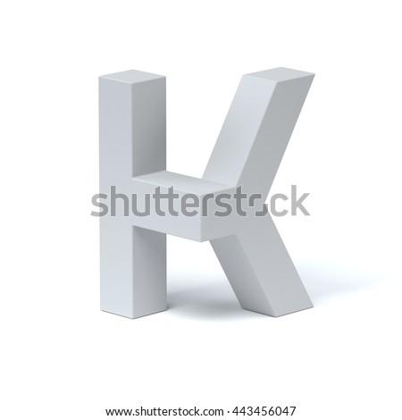 Isometric font letter K 3d rendering - stock photo