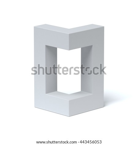 Isometric font letter O 3d rendering - stock photo