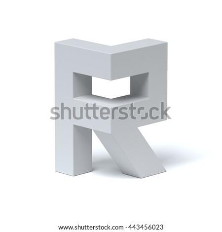 Isometric font letter R 3d rendering - stock photo