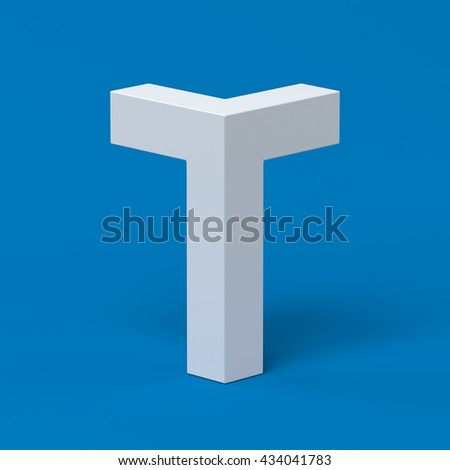Isometric font letter T 3d - stock photo