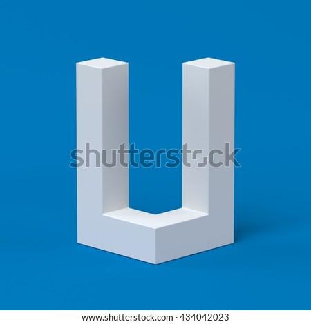Isometric font letter U 3d - stock photo