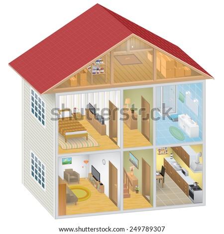 Isometric House Interior - stock photo