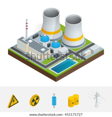 Isometric icon, infographic element representing nuclear power station, reactors, power lines and nuclear energy generation related facilities. Industrial landscape.  - stock photo