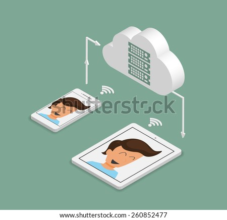 Isometric illustration of synchronization of smartphone and tablet pc via cloud server - stock photo