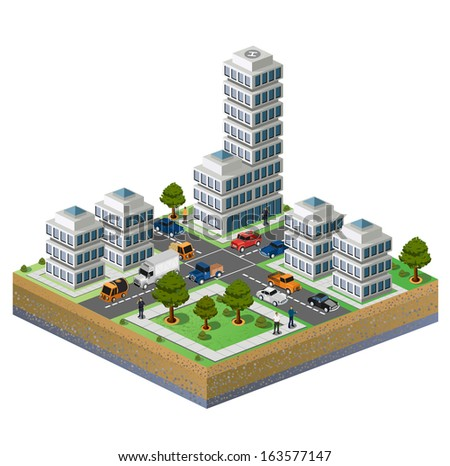 Isometric image of a fragment of the city on a white background - stock photo