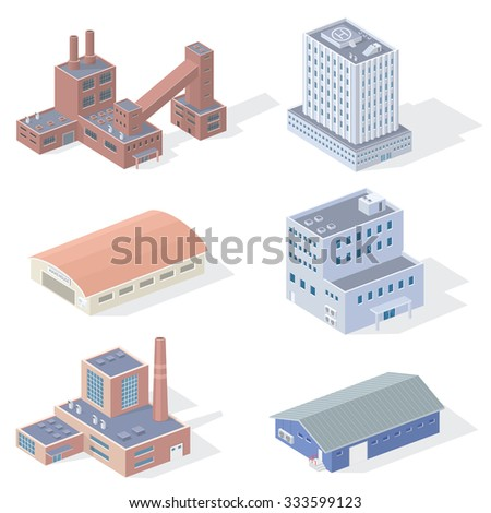 Isometric Industrial Buildings - stock photo