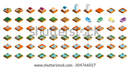 Isometric Kit of Buildings Blocks Trees and Houses - Sand Edition - stock photo