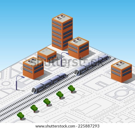 Isometric map of the city with buildings and trains - stock photo