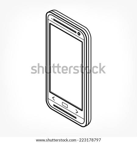 Isometric mobile phone icon with thin black lines. Rasterized version. - stock photo