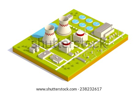 Isometric nuclear power facility - stock photo