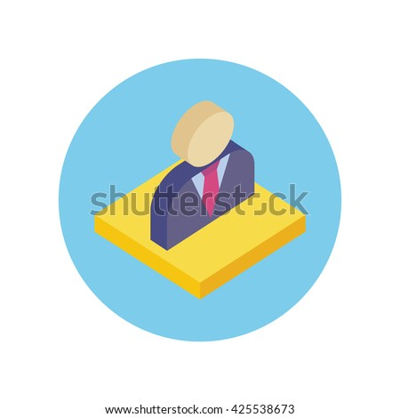 Isometric office worker design icon. 3d office space, business person, man office worker, manager office worker icon, businessman avatar  illustration - stock photo