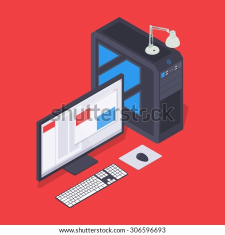 Isometric personal computer. Illustration suitable for advertising and promotion - stock photo