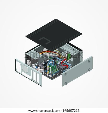 Isometric Personal Computer Vector Illustration - stock photo