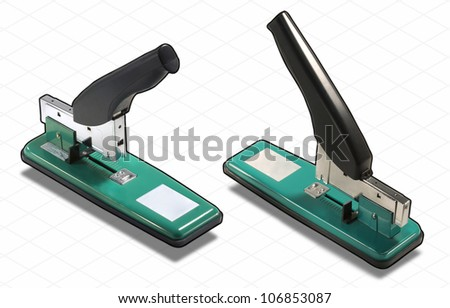 ISOMETRIC Photograph Isolated on White with Clipping Path INCLUDED of a Green and Black very Big Stapler - stock photo