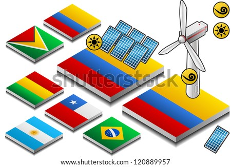 isometric representation of solar and wind energy on button flag - stock photo